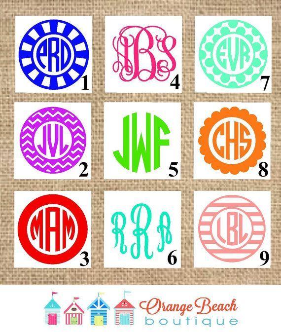 Monogram Decal Monogram Sticker IPhone By OrangeBeachBoutique - How to make vinyl decals for cups