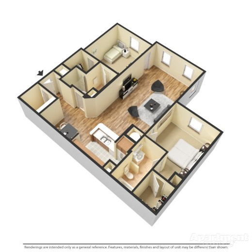 2 Bedroom Westminister Layout Located On The 1st Floor