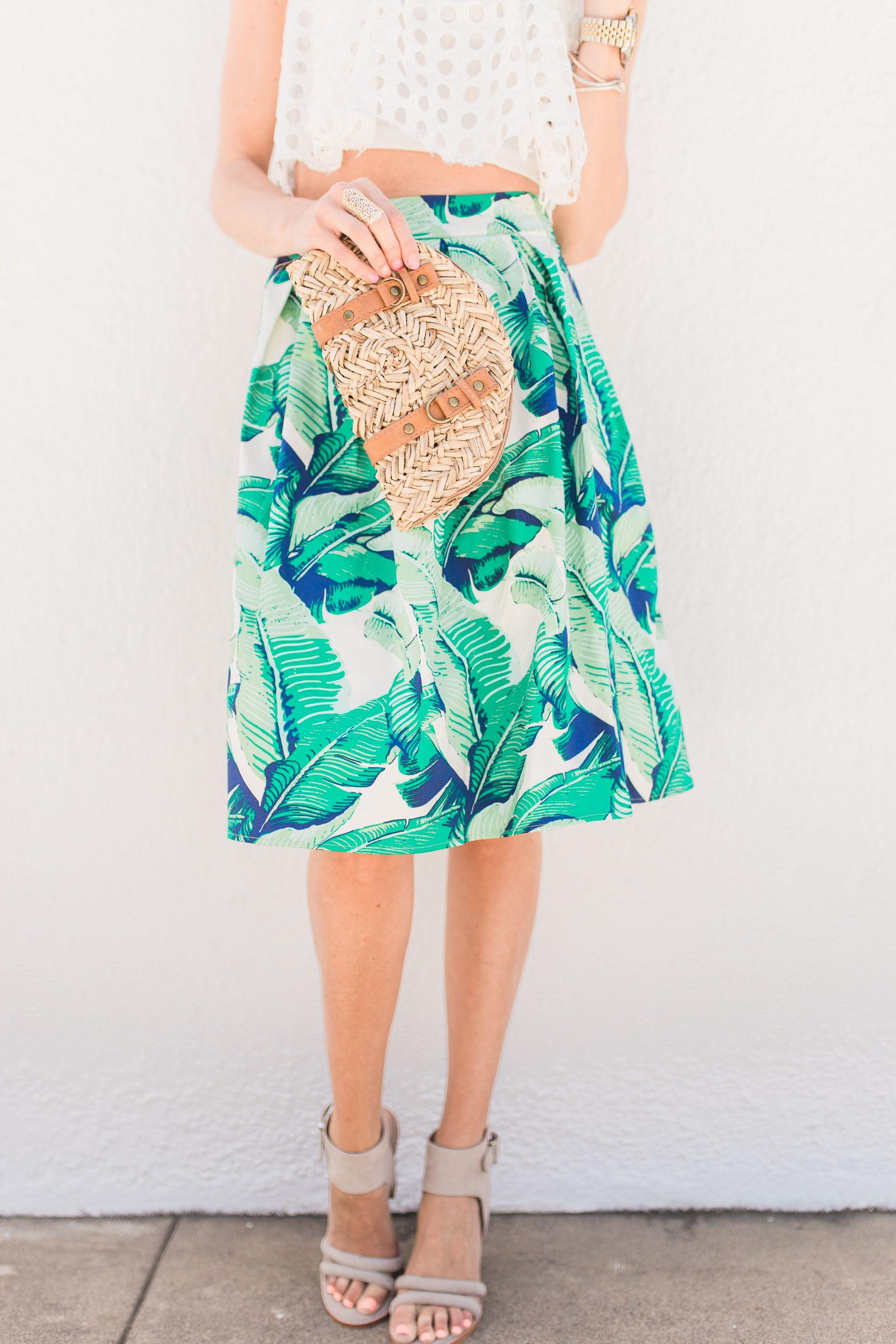 Palm Print Skirt + Crop Top - Mckenna Bleu | My Style / McKenna Bleu ...
