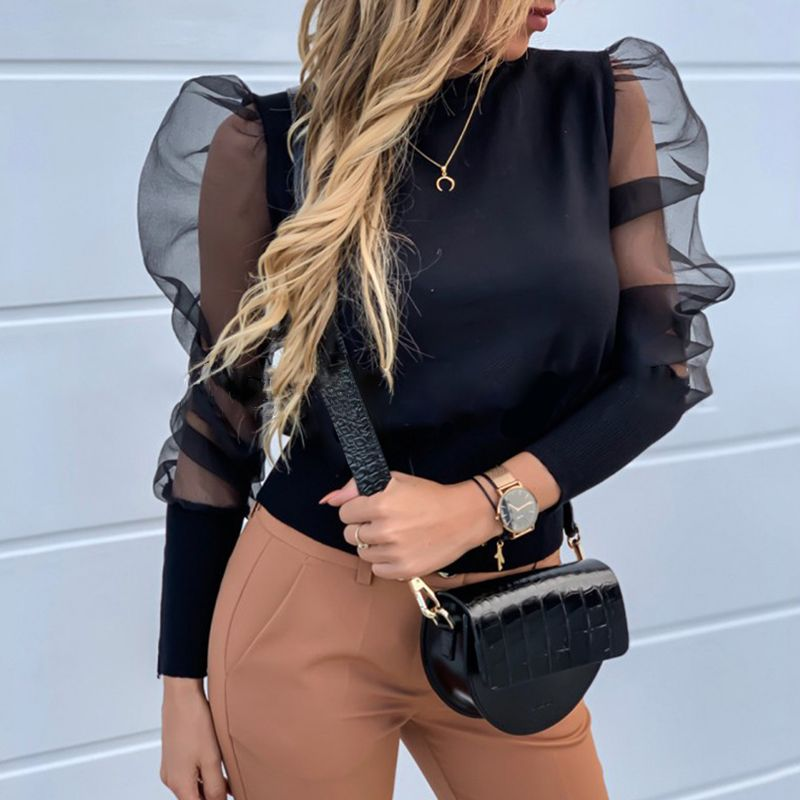 Women's Fashion Round Neck Splicing Long Sleeve Organza