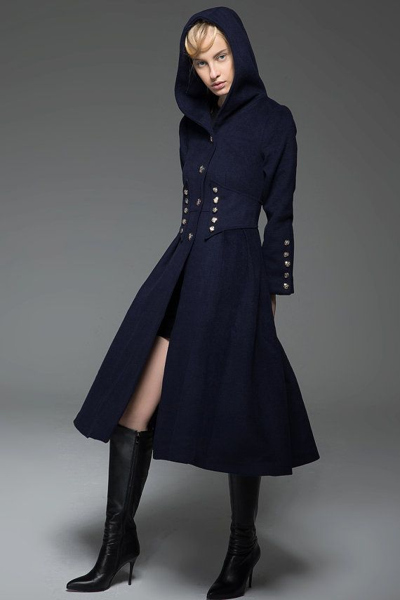 37bba40143a3 Navy Military Style Coat - Long Modern Dark Blue Hooded Winter Wool ...