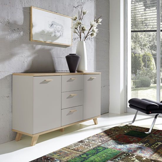 Bowen Sideboard In Stone Grey And Oak With 2 Doors And 3 Drawers - sideboard für wohnzimmer