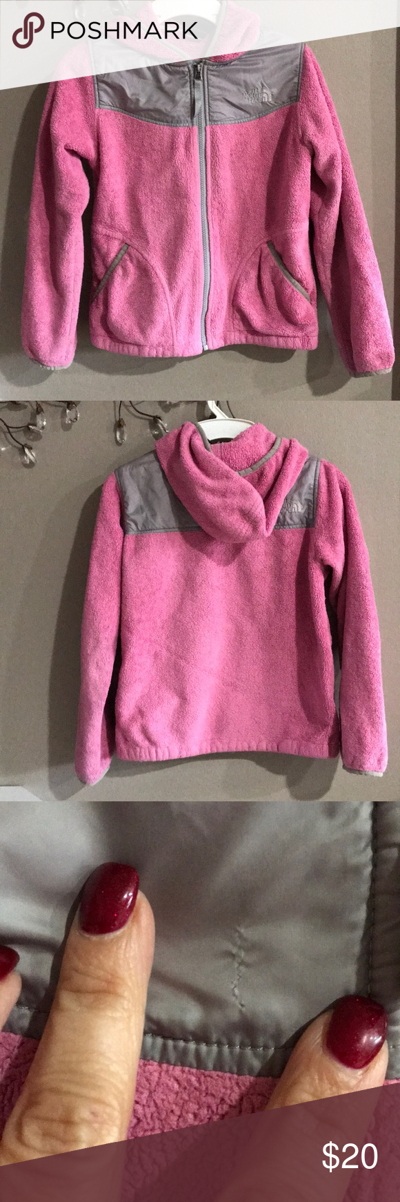 482dc5e58fe6 The North Face Pink Gray Fleece Full Zip Hoodie Pink with gray trim . Full