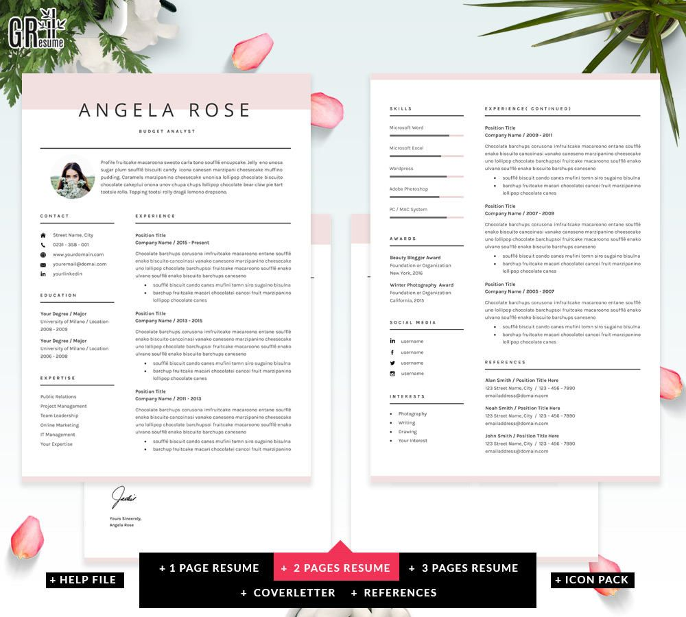 format voor cv Resume Template   Professional CV Template   for Word (US Letter