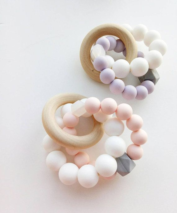 Silicone Teething Ring Teething Toy Baby Shower Baby Teether Rattlte Wooden Ring