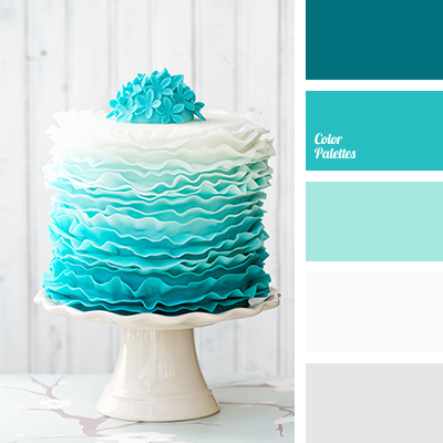 White and pearl add volume to the range of turquoise hues, intense and translucent. This color scheme is well-suited for indoor decoration with wedding bal.
