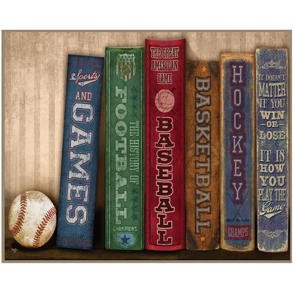 Sports Library Canvas Wall Art ($52) ❤ liked on Polyvore ...