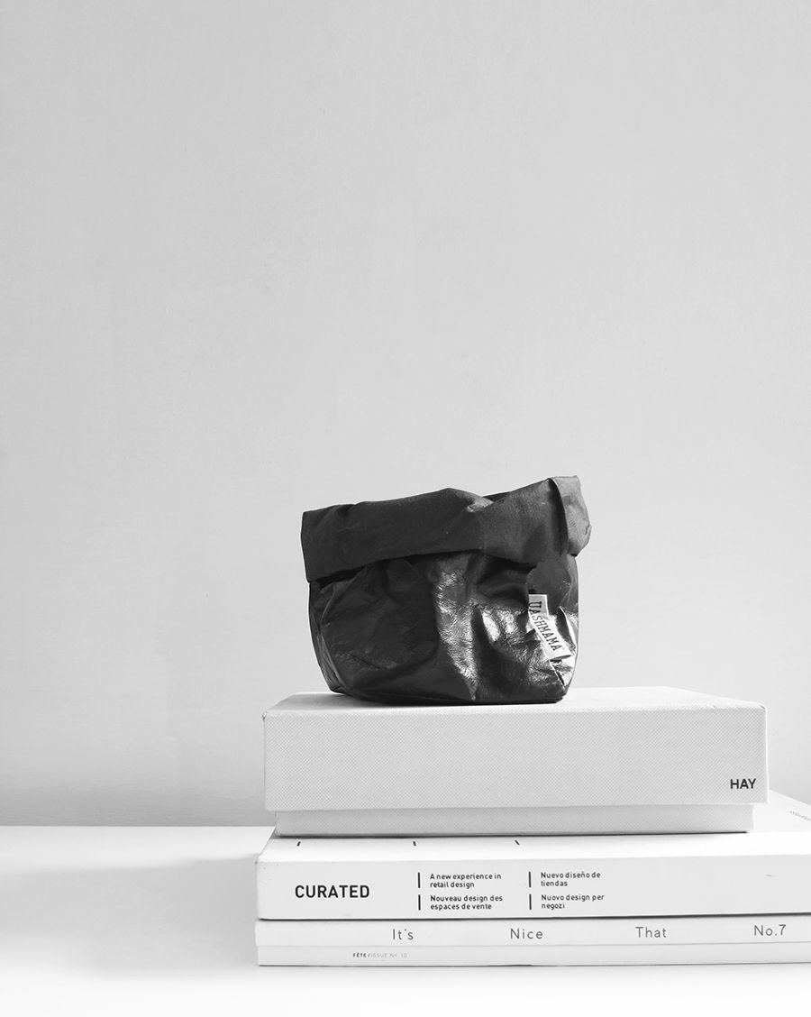 The Minimalist Home x Uashmama black metallic paper bag