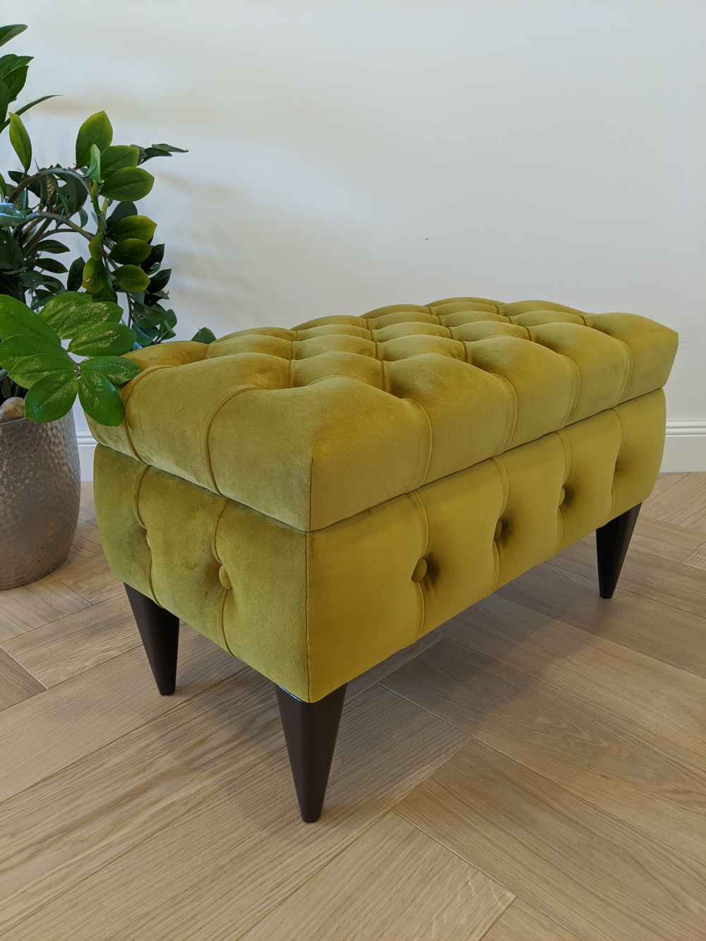 Mustard Yellow Chesterfield Ottoman With Storage Box Entryway Bench Velvet Bench With Storage Mustard Yellow Ottoman In 2020 Yellow Ottoman Storage Ottoman Dressing Room Decor