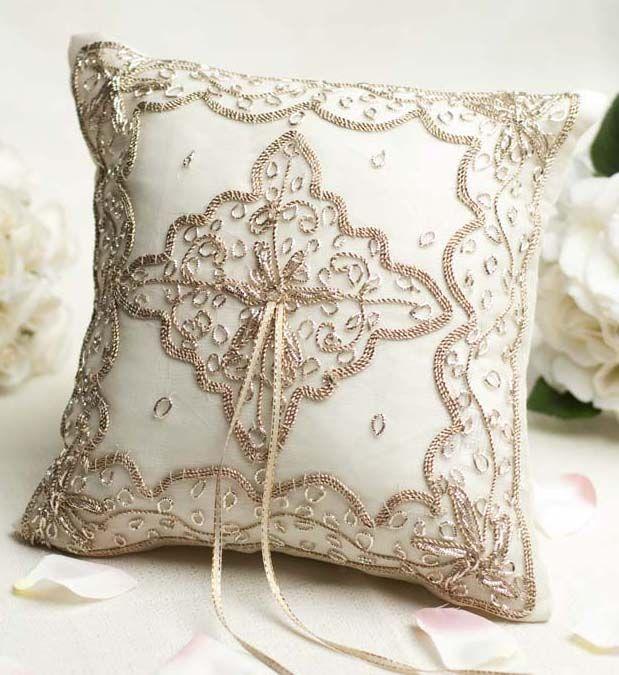 Bronze Metallic Handmade Ring Pillow