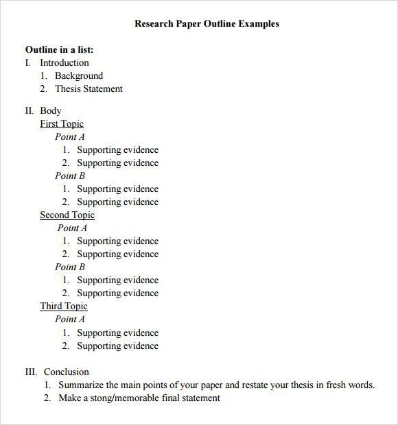 Research Paper Outline Template  Presentation    Outlines
