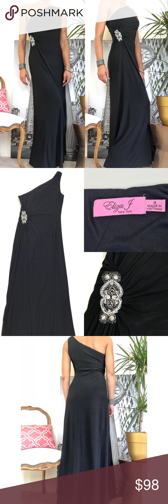 Eliza j gathered jewel black formal gown my posh picks
