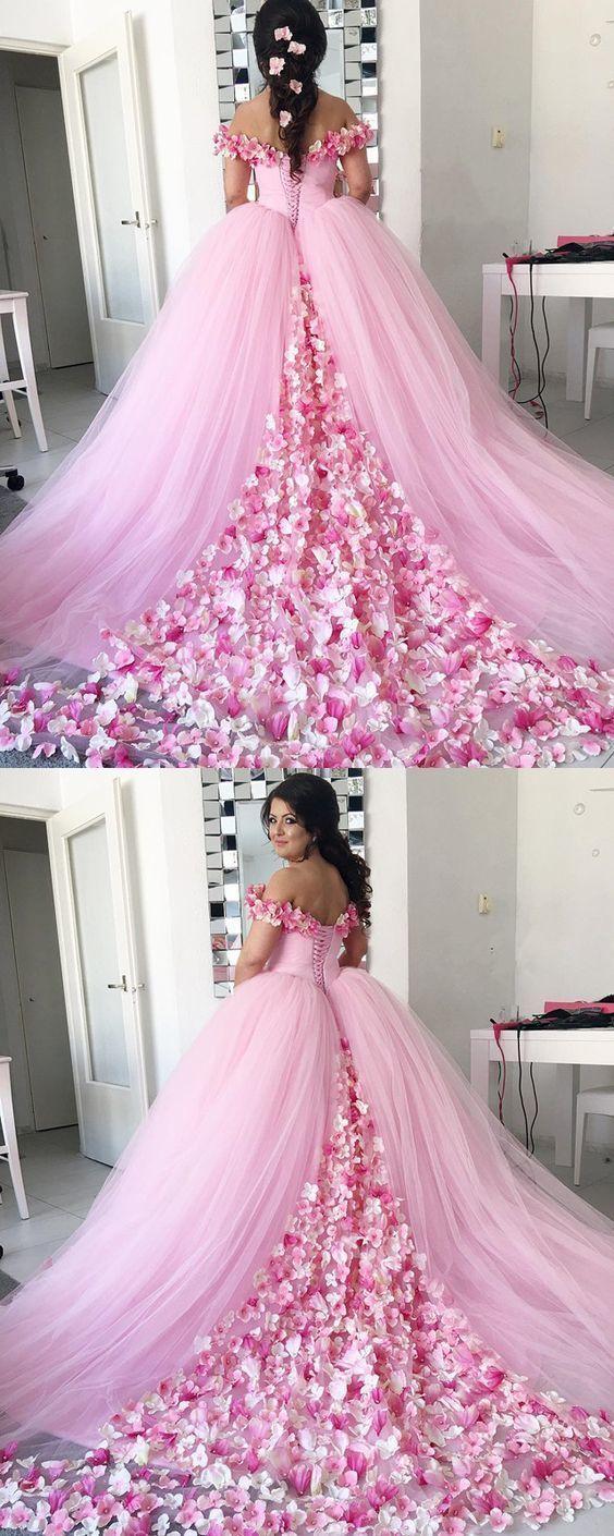 Pink tulle floral flower ball gowns wedding dresses off shoulder