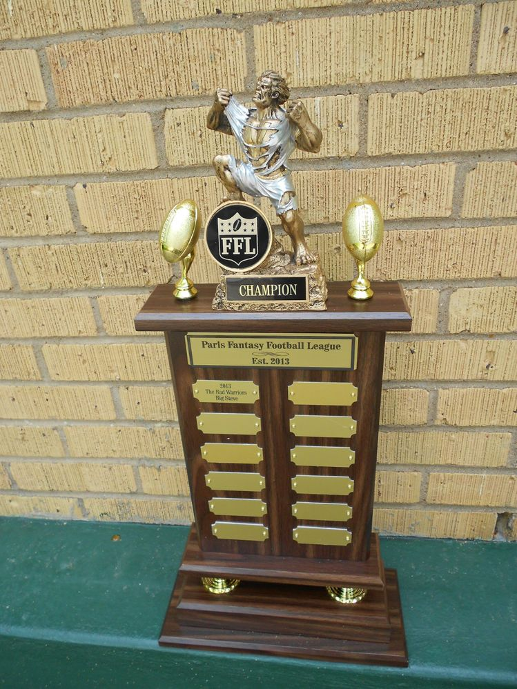Gold Plates On Perpetual Fantasy Monster Football Trophy