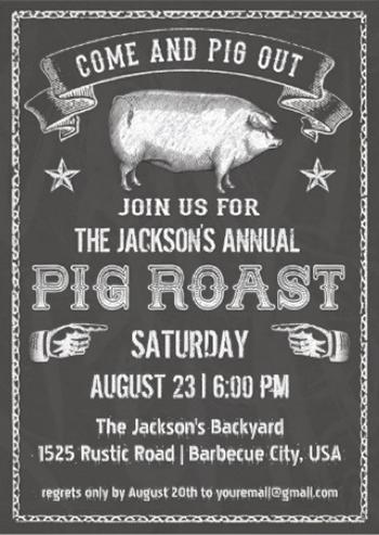 chalkboard vintage pig roast invitation com and pig out vintage