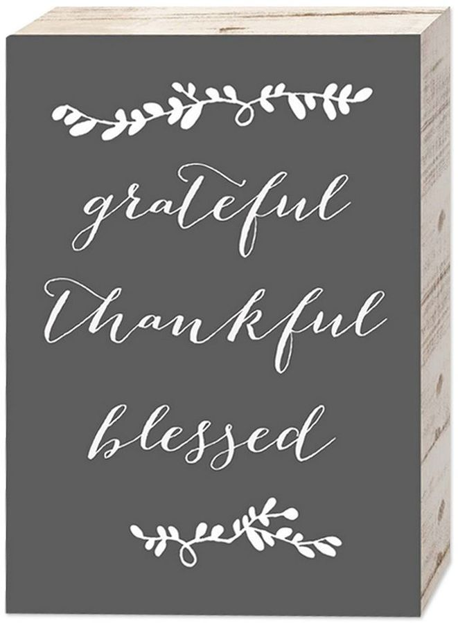 "Belle Maison ""Grateful Thankful Blessed"" Box Sign Art #thanksgiving #thankful #grateful #fall"