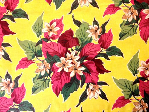 Fab 40s Floral Fabric in Sunny Yellow and Coral// by KimberlyZ,