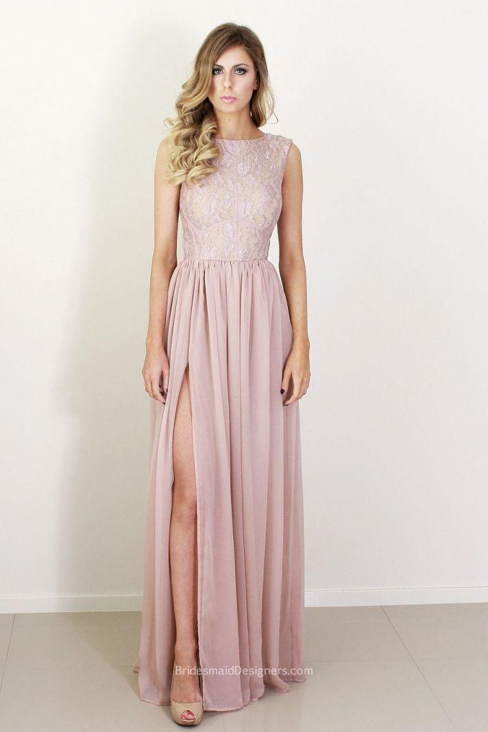 Lace bodice bridesmaid dress