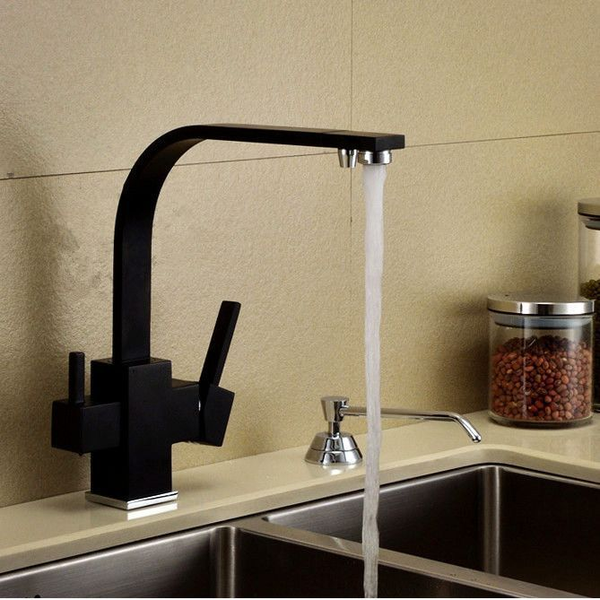Luxury Square Style Matte Black Kitchen Faucet Longreach Sink Mixer 3 Way  Water Filter Tap