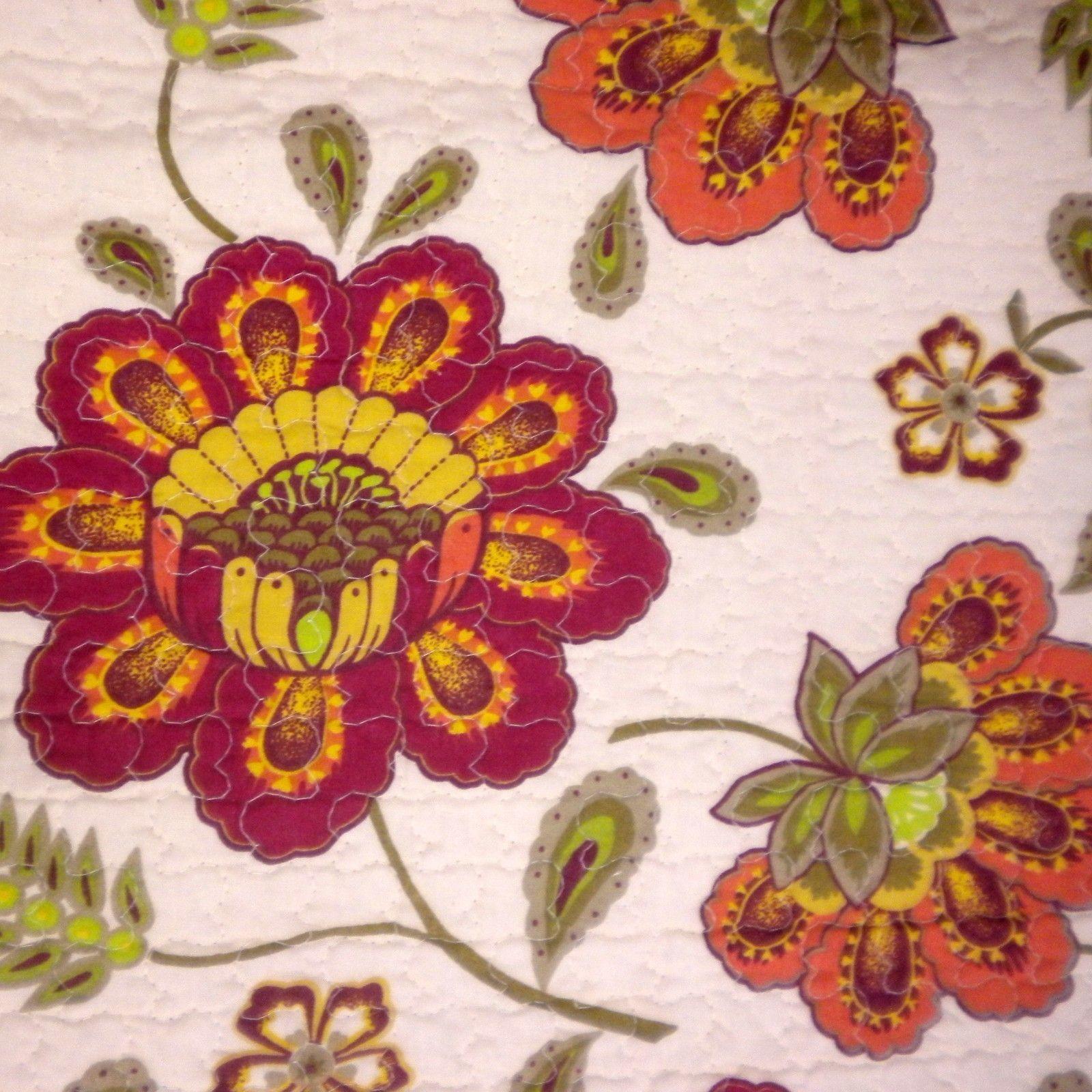 New cynthia rowley jasmine jacobean floral twin quilt burgundy green ...
