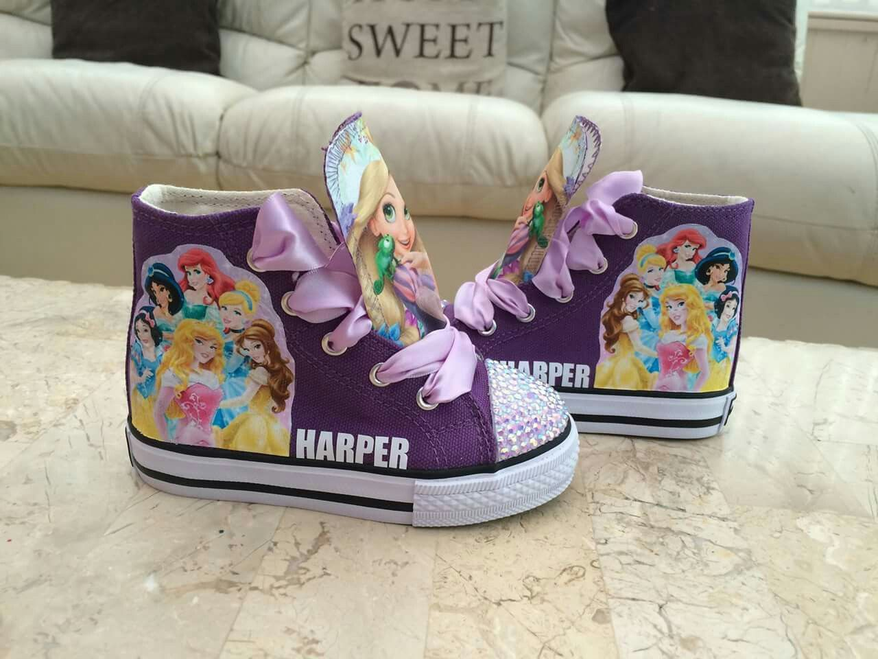 808c3c38b35b Princess and rapunzel personalised high top trainer shoes £25 ...