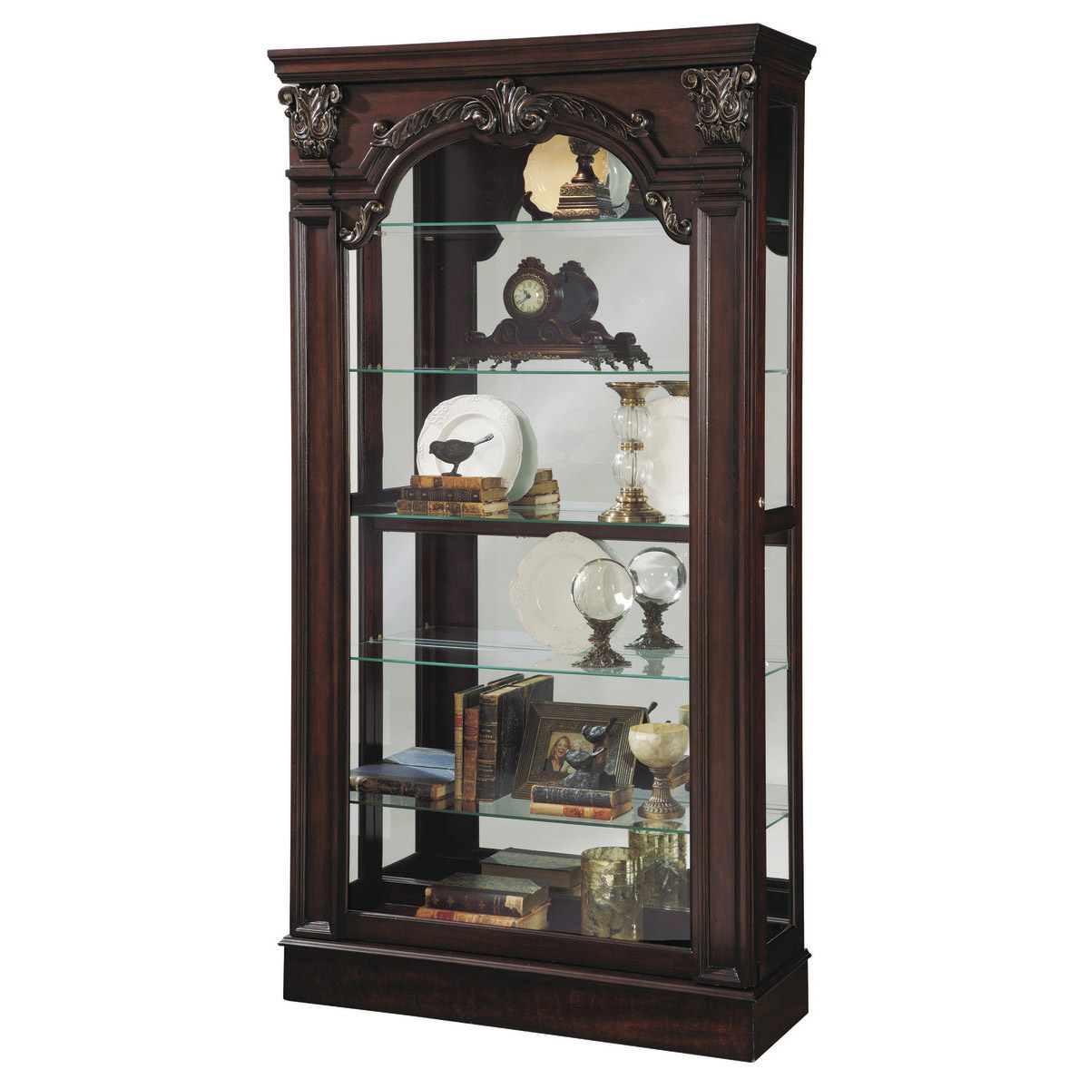 Winchester sliding front curio cabinet in brown by pulaski home
