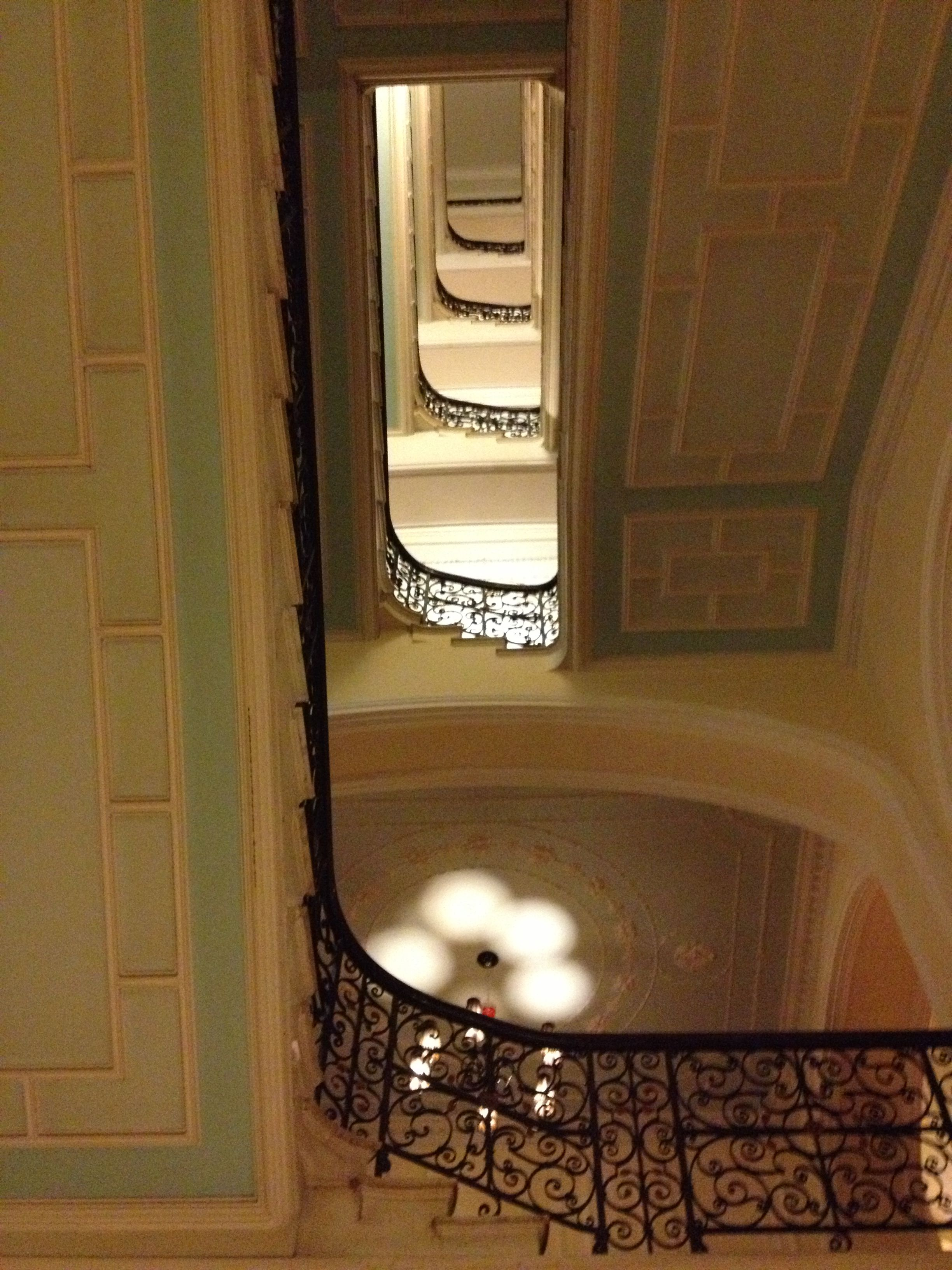 Looking up the main stair way of the Hilton Brighton Metropole. I adore the colour combinations.