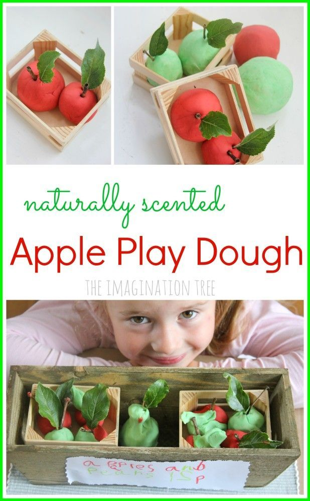 DIY no-cook apple play dough recipe. This smells wonderful!