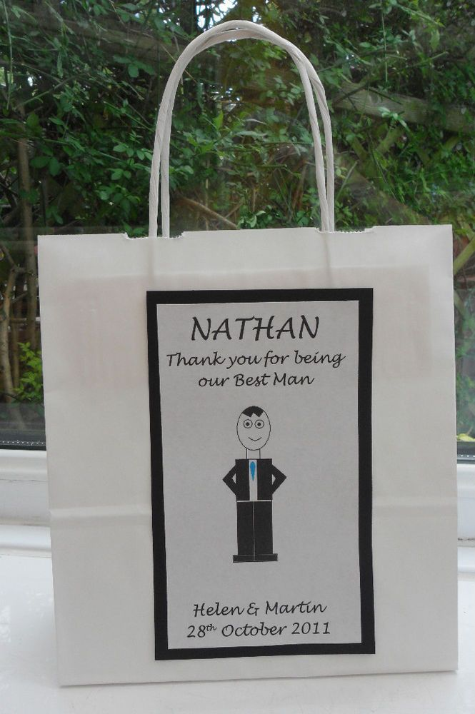 Details About PERSONALISED BEST MAN USHER PARENTS GIFT BAG WEDDING
