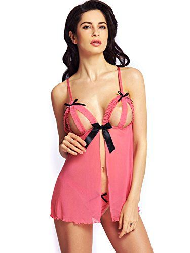 5f15b93c7 BeLuring Womens Peek-a-boo Babydoll Crotchless Sexy Lingerie Set -- You can  get more details by clicking on the image. (This is an affiliate link)