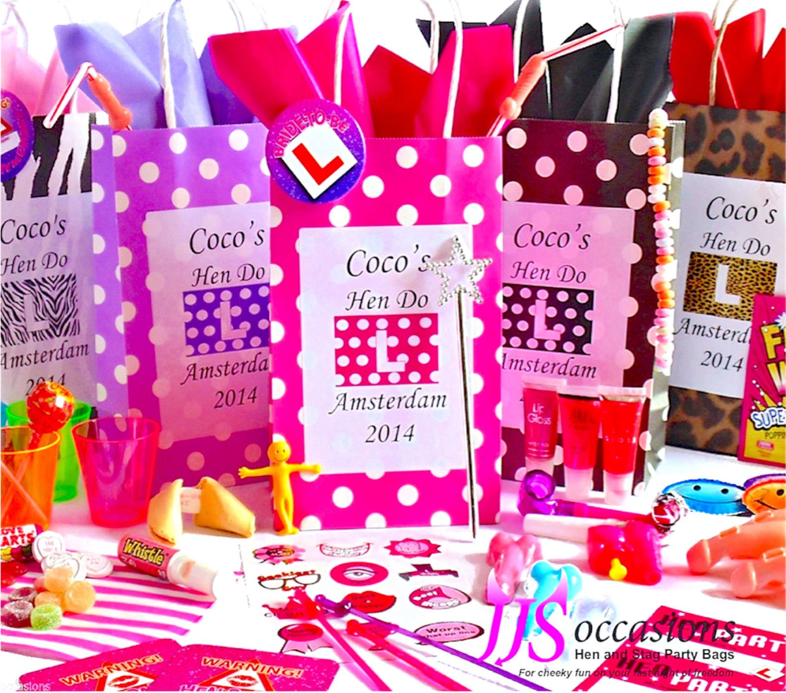 hen party bag 8 items create your own personalised filled gift fun