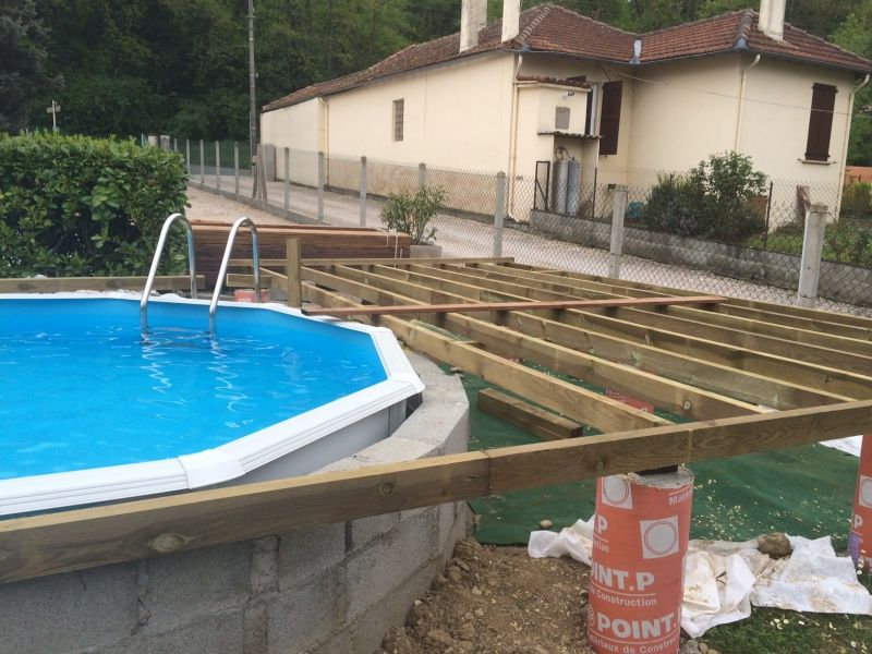 Piscine hors sol bois semi enterr recherche google piscine pinterest piscine hors sol for Amenagement terrasse piscine