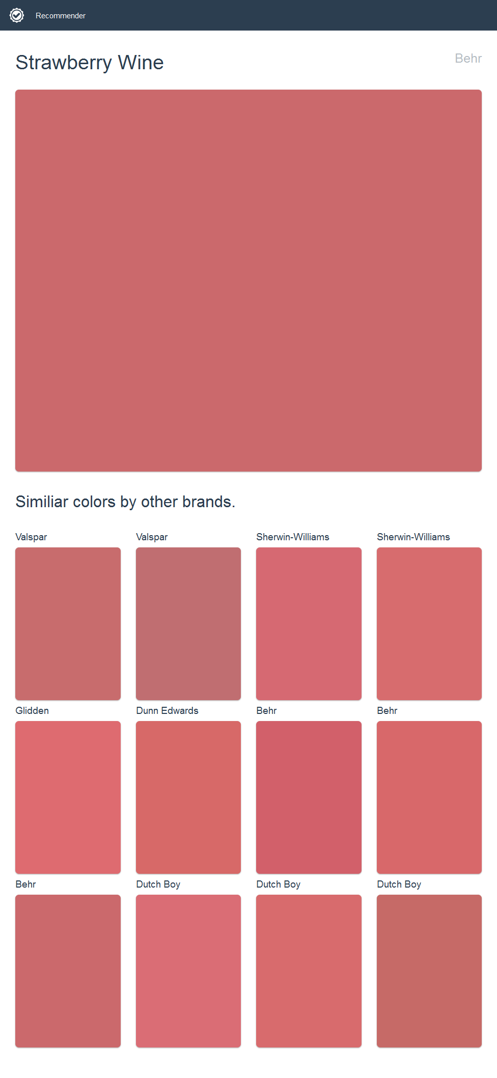Strawberry Wine, Behr. Click the image to see similiar colors by ...