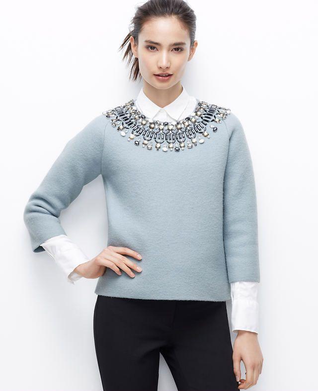 Petite Jewel Neck Sweater | Ann Taylor | Clothing I like ...