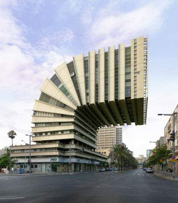 victor enrich photographed buildings and impossible constructions he turned architecture here from tel aviv israel into improbable and surreal shapes