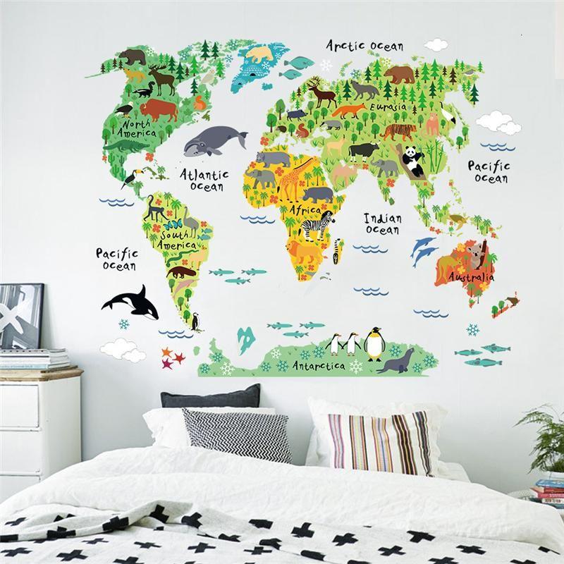 Cartoon Tiere Weltkarte Wandaufkleber Für Kinderzimmer Dekorationen Safari  Wandbild Kunst Zoo Kinder Home Aufkleber Kindergarten Poster
