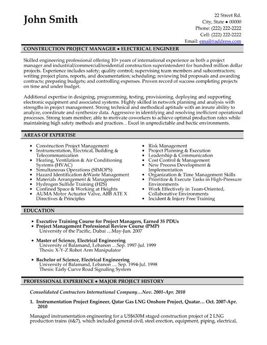 Management Resume Click Here To Download This Construction Project Manager Resume