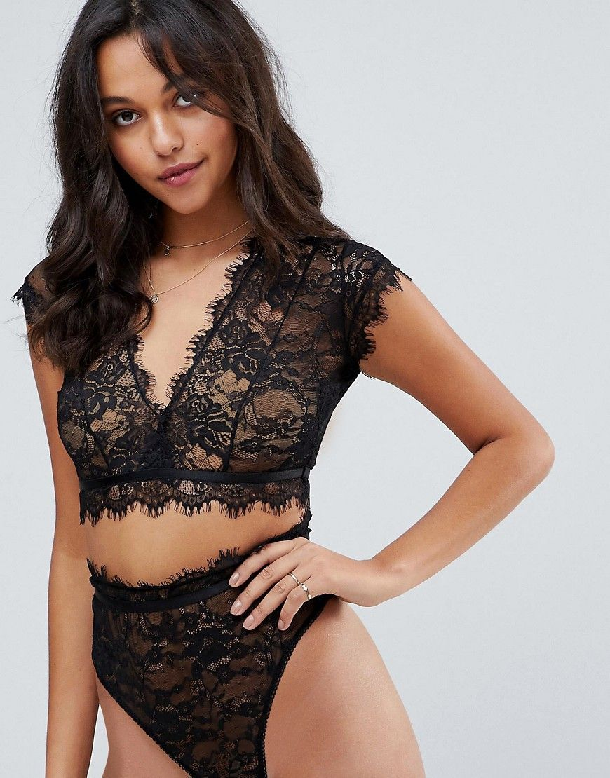 a060971c48c ASOS Eyelash Lace Crop Bralette - Black