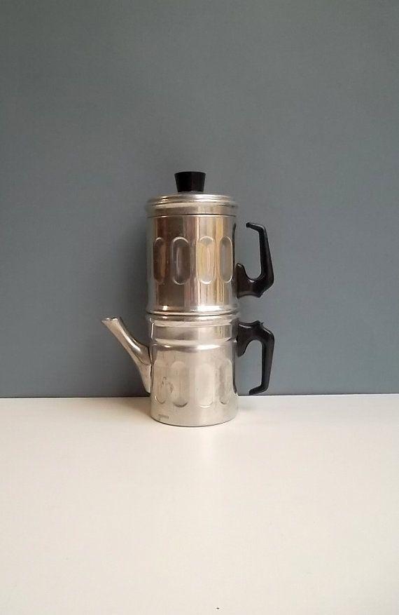 Retro Coffee Maker Vintage Italian Metal Napoletan Pot On Etsy 25 00