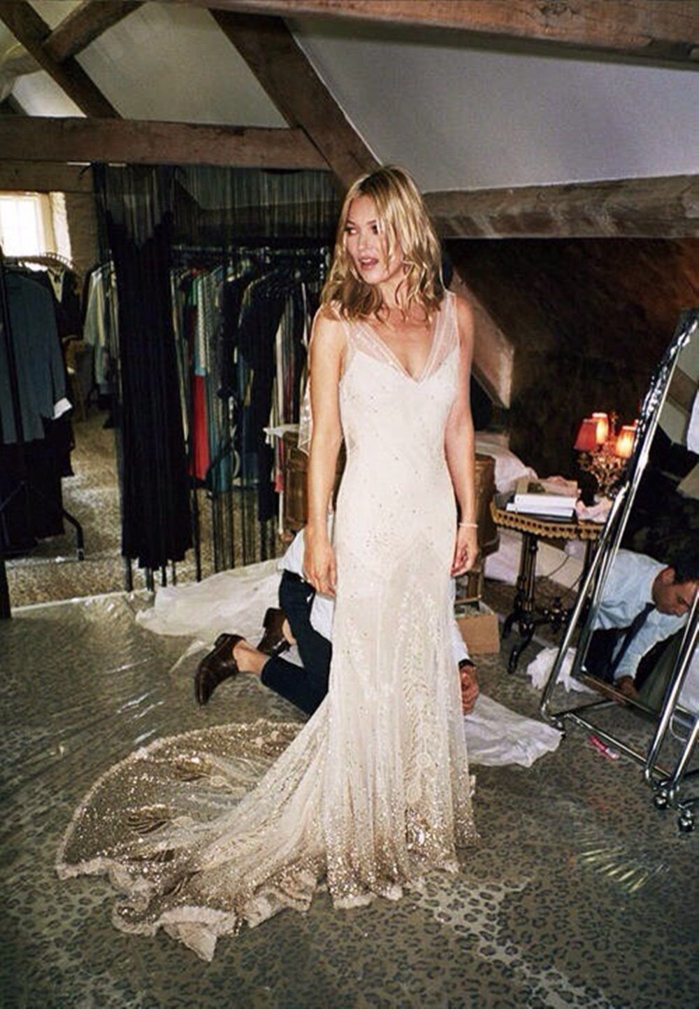 Alexis roche and kate moss 2011 kates wedding gown by john alexis roche and kate moss 2011 kates wedding gown by john galliano 1920s inspired lace veil with flower embroidery junglespirit Image collections