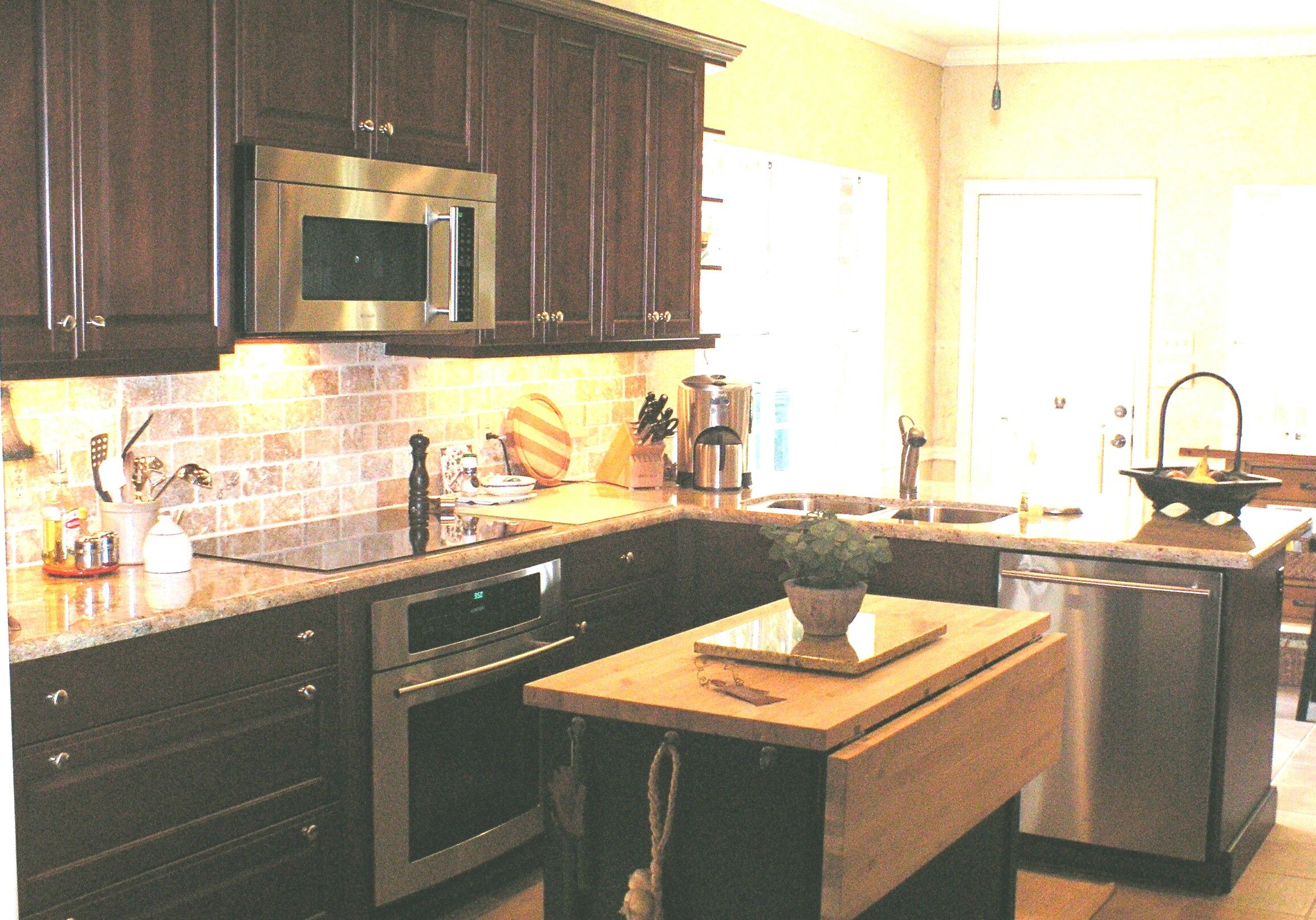wood mode kitchen cabinets bar table remodel with granite
