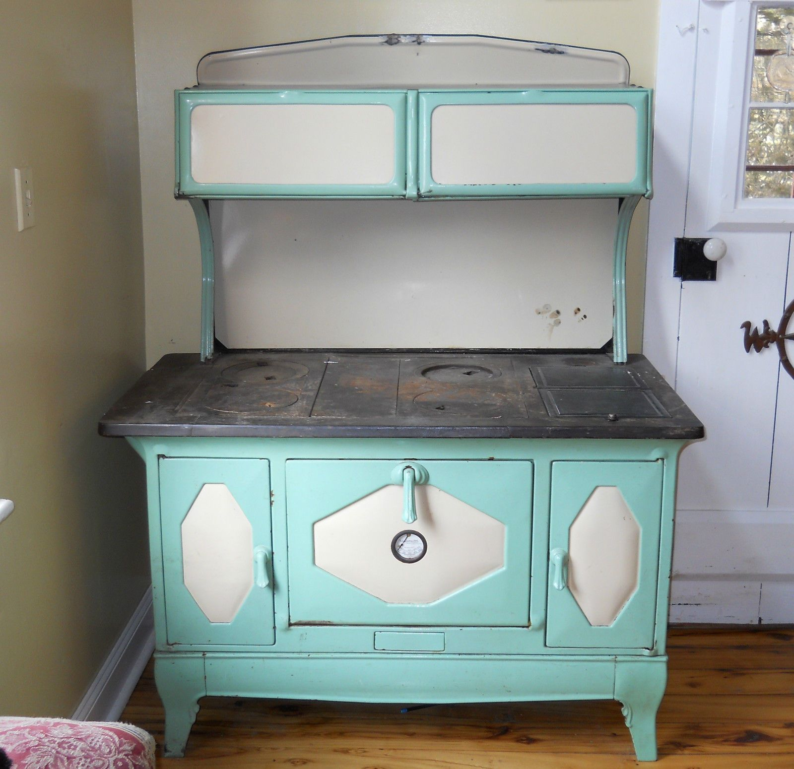 ANTIQUE 1930\'S KALAMAZOO President Stove Wood Cook Green Porcelain ...