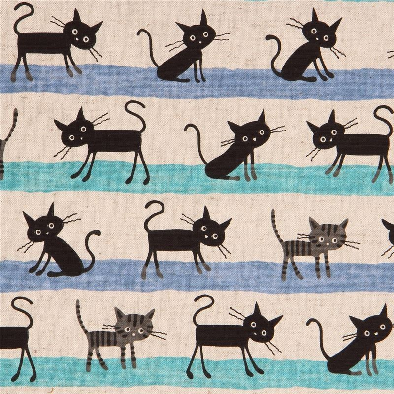 http://www.kawaiifabric.com/en/p11663-natural-color-black-cat-turquoise-blue-line-stripe-Canvas-fabric-from-Japan.html