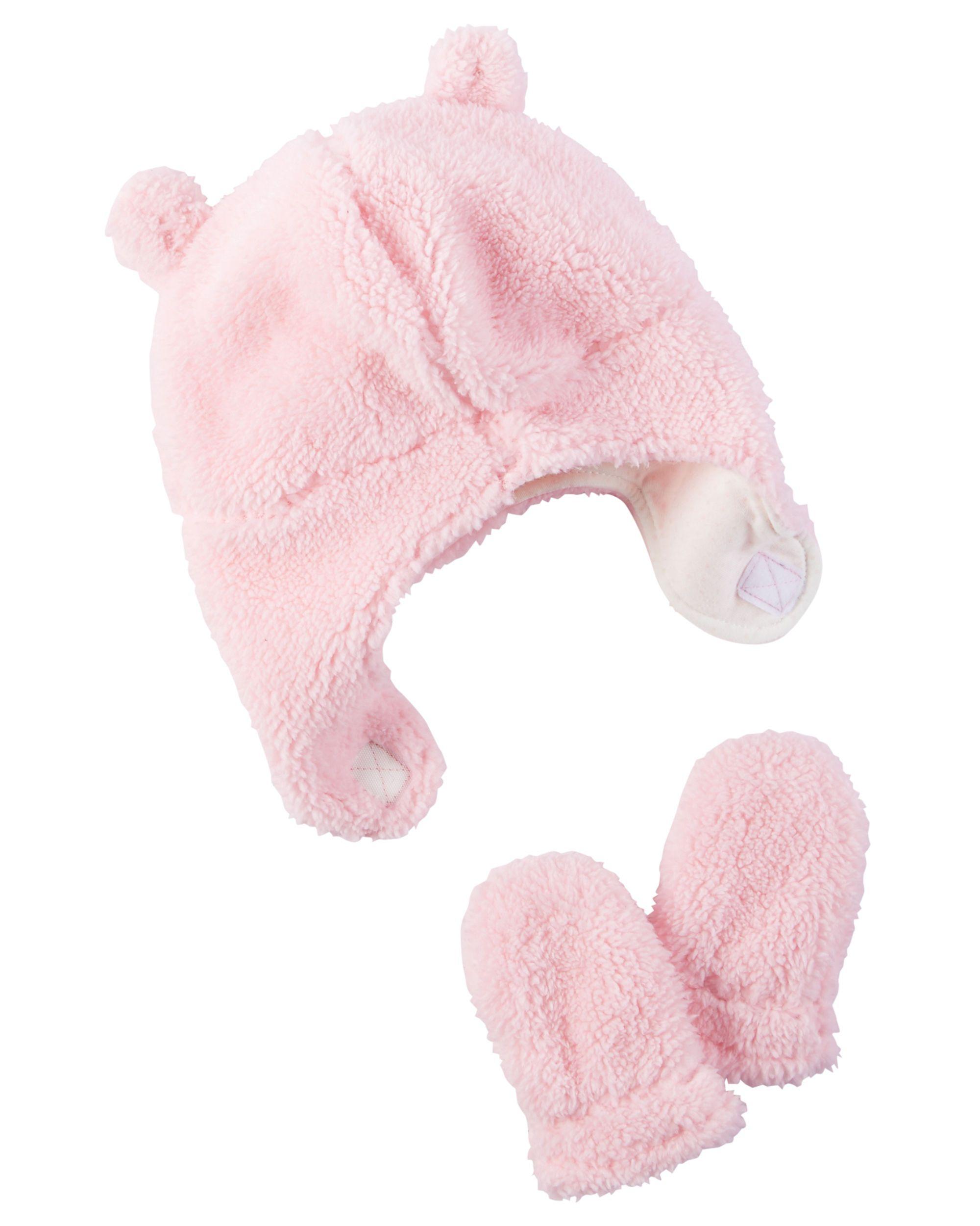 Baby Girl Sherpa Hat   Mitten Set  9515e30746ee