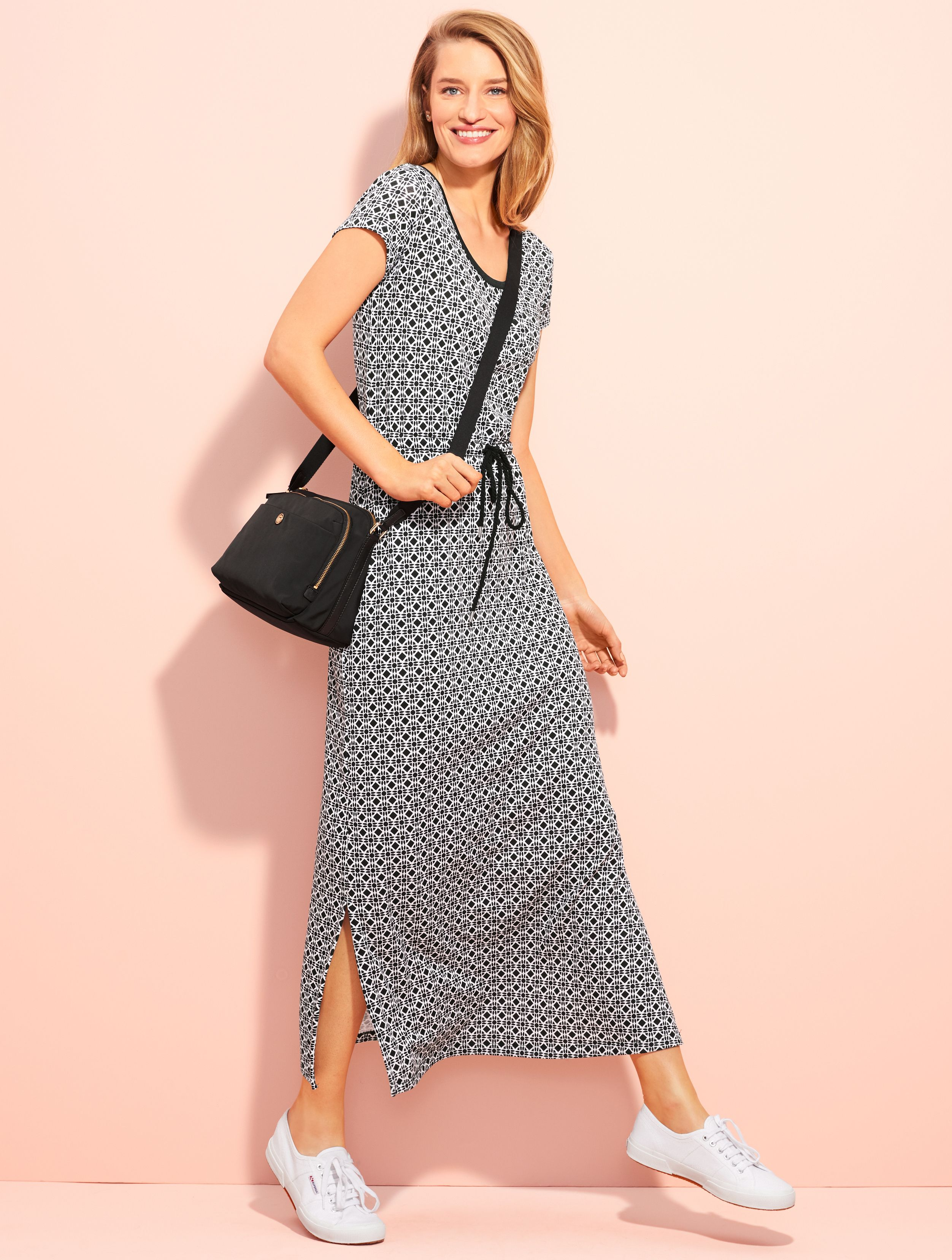 Sophisticated Simplicity At Its Best This Casual Dress Is Versatile Enough To Wear All Season Long Pair With Our Spe Jersey Dress Dresses Dress With Sneakers [ 3312 x 2504 Pixel ]