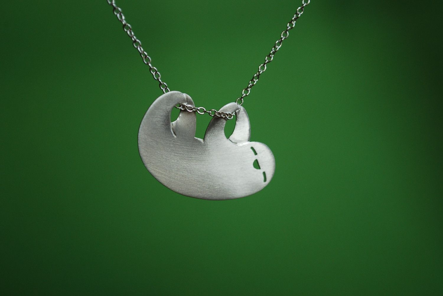 unique silver jewellery asp p sloth pendant stunning solid necklace handmade hanging