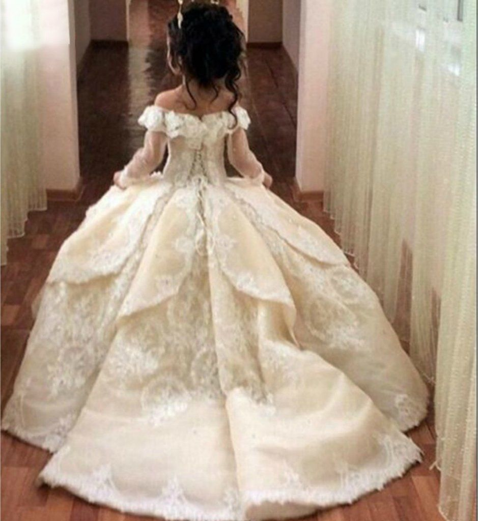Long Trail Ball Gown Ivory White Pageant Prom Princess Junior Bidesmaid Sleeve Lace Perfect For Birthday Wedding