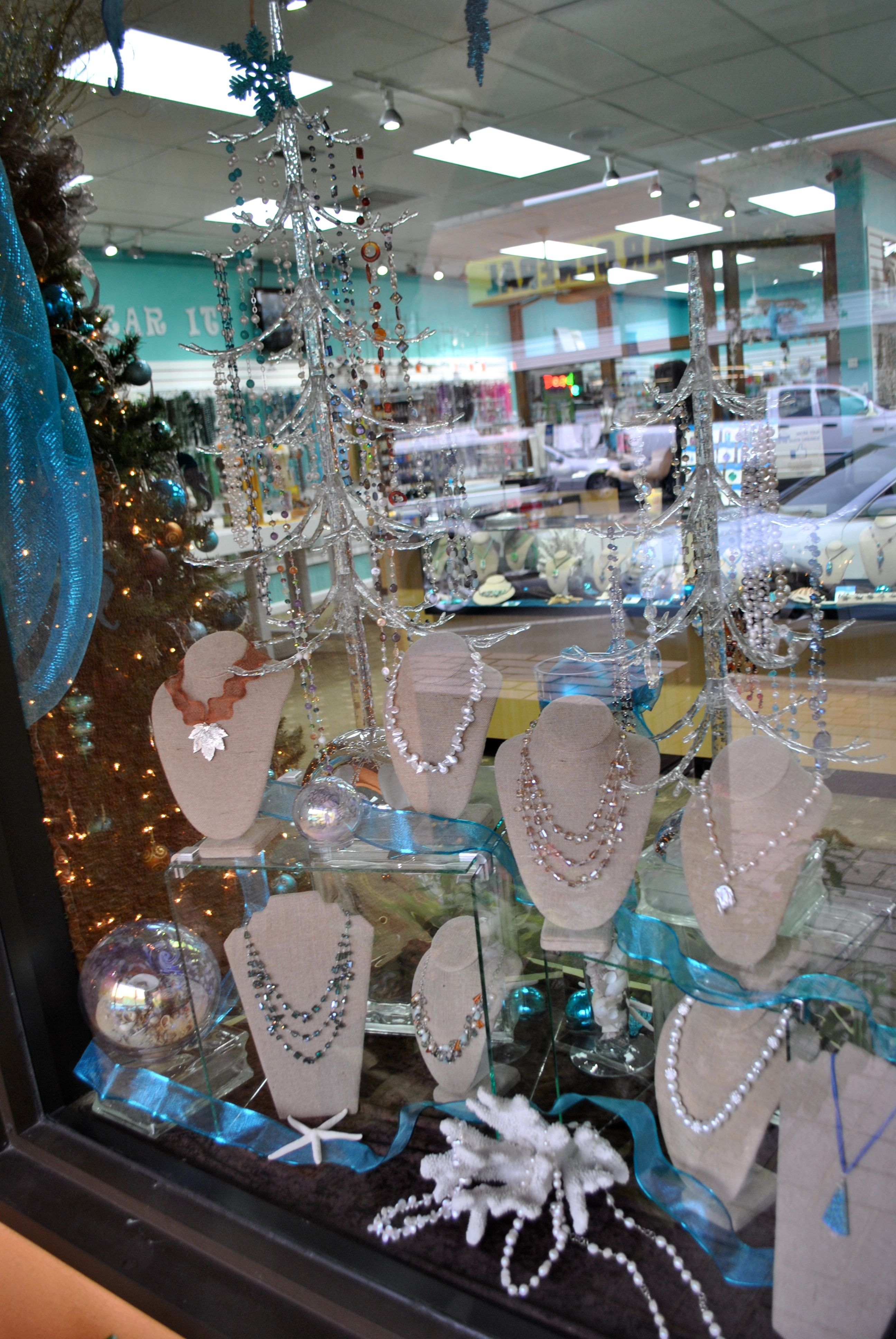 Window display at our bead store panama city fl we for Jewelry store window displays
