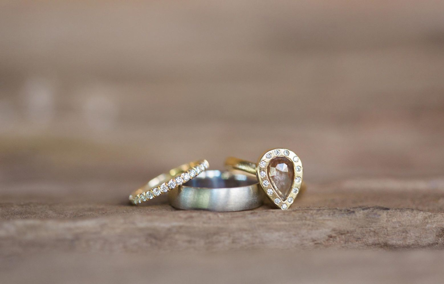 Unique gold engagement and wedding rings.  Wedding Photography by www.leahvis.com