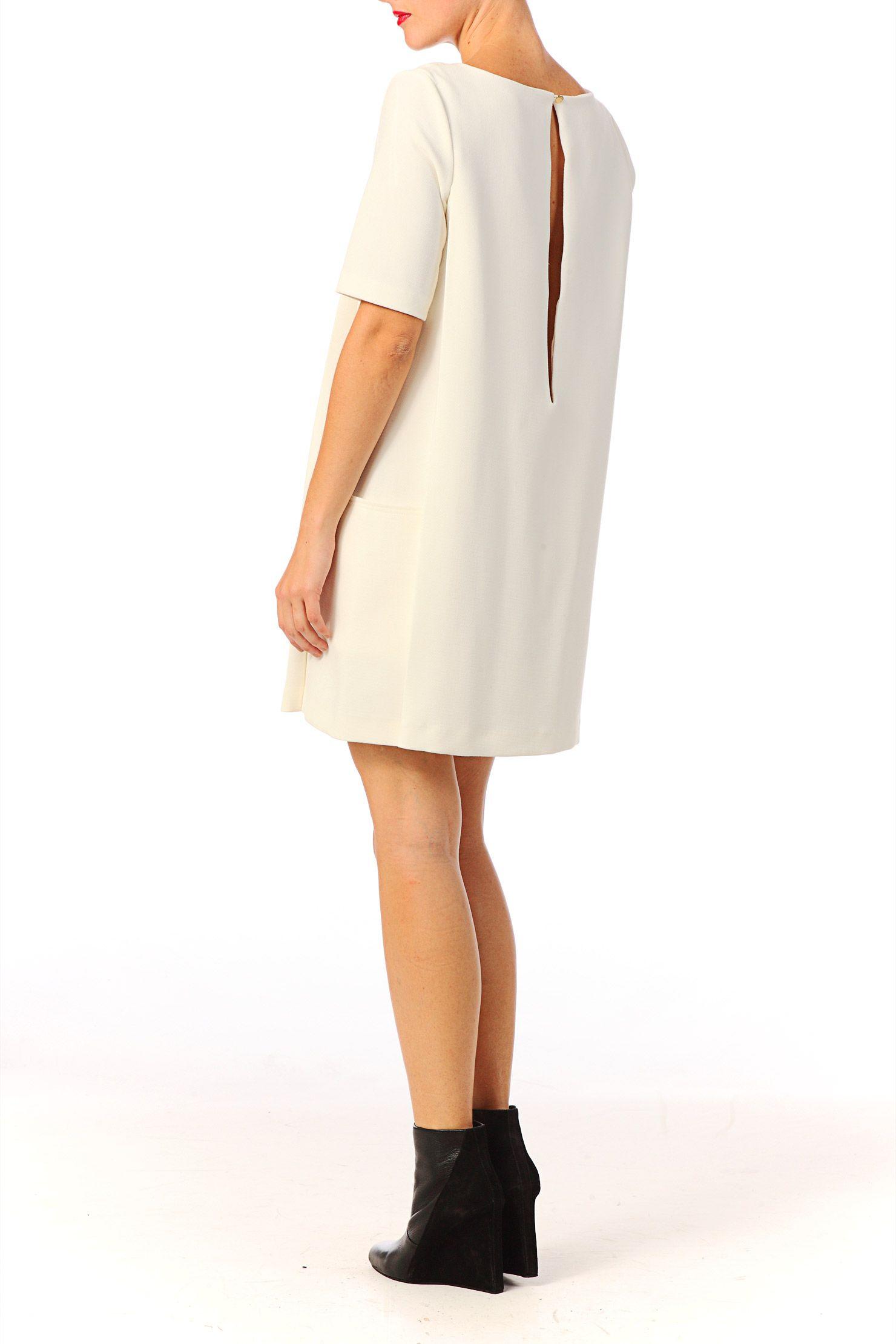 77d3e0d07ca Robe droite Noctambule Blanc   Ecru Ba sh sur MonShowroom.com